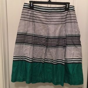 Talbots Pleated A-line Cotton Lined Skirt
